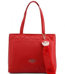 Love Moschino Red Embossed Heart Large Tote