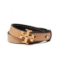 Tory Burch Vachetta-Black Double-Wrap Bracelet