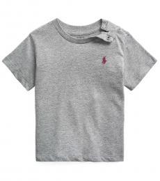 Ralph Lauren Baby Boys Boulder Grey Heather Crewneck T-Shirt