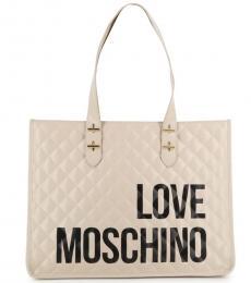 Love Moschino White Bold Logo Large Tote