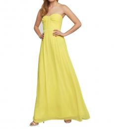 BCBGMaxazria Canary Yellow Strapless Ruched Evening Gown