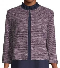 Karl Lagerfeld Purple Textured Roundneck Jacket
