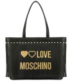 Love Moschino Black Fringes Large Tote