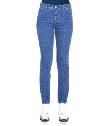 Blue All Over Logo Jeans
