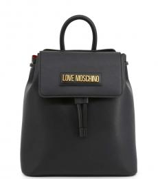 Love Moschino Black Lettering Logo Medium Backpack