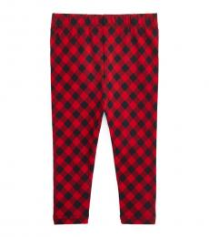 Ralph Lauren Baby Girls Red Black Multi Check Stretch Leggings