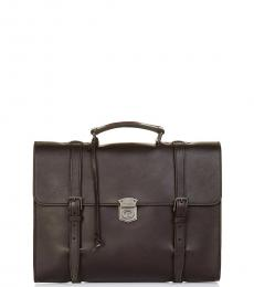 Dolce & Gabbana Dark Brown Solid Large Briefcase Bag