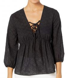 Black Elbow Sleeve Lace Front Top