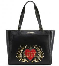 Love Moschino Black Embellished Large Tote