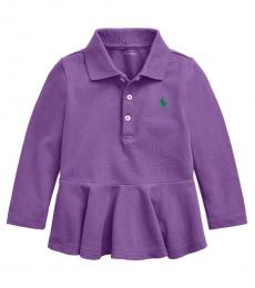 Ralph Lauren Baby Girls Rugby Purple Peplum Long-Sleeve Polo