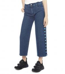 Dark Blue Logo Wide Leg Jeans