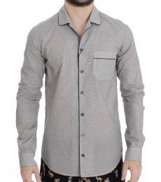 Dolce & Gabbana White Brown Cotton Pajama Shirt