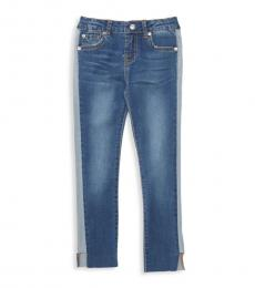 7 For All Mankind Little Girls Blue Raw-Cuff Jeans
