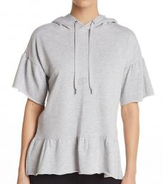 Betsey Johnson Light Grey Flutter Sleeve Hoodie