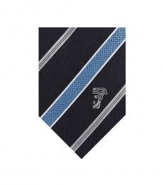 Versace Blue Light Modish Striped Silk Tie