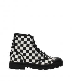 Givenchy Black White Check Print Boots