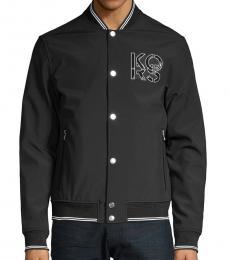 Michael Kors Black Soft Shell Baseball Jacket