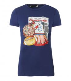 Love Moschino Blue Short Sleeves T-Shirt