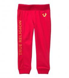Little Girls Red Mesh Core Sweatpants