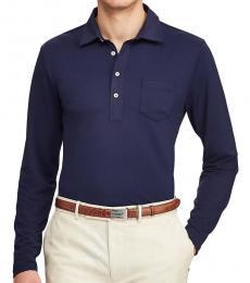 Ralph Lauren French Navy Custom Slim Long-Sleeve Polo