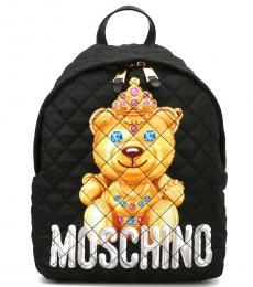 Black Bear Print Large Backpack