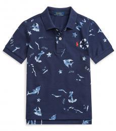 Ralph Lauren Little Boys French Navy Nautical Mesh Polo