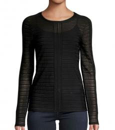 BCBGMaxazria Black Crewneck Knitted Top