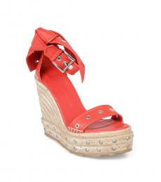 Alexander McQueen Red Studded Leather Wedges