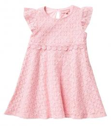 BCBGirls Little Girls Rose Petal Flutter Sleeve Lace Dress