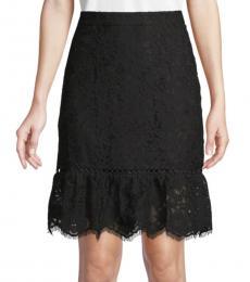 Karl Lagerfeld Black Flounce Hem Lace Skirt
