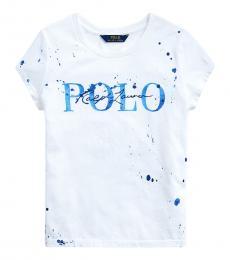 Ralph Lauren Girls White Paint-Splatter T-Shirt