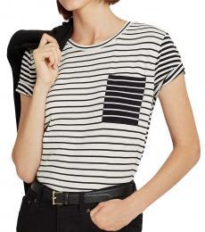 Ralph Lauren Polo Black Multi Striped Cotton Blend Tee