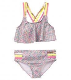 BCBGirls Girls Purple Mermaid Scale Print Bikini