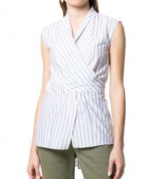 Brunello Cucinelli White Striped Wrapped Top