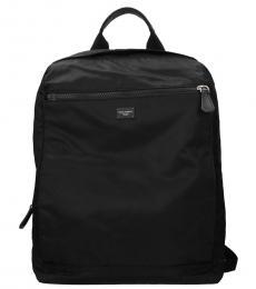 Black Solid Large Backpack