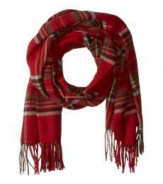 Red-Olive Tartan Blanket Scarf