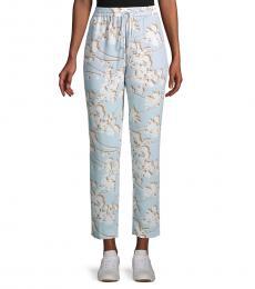 Sky Blue Floral Drawstring Pants