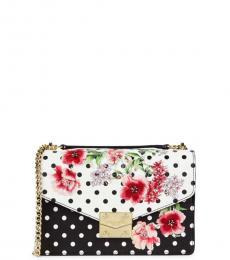 Karl Lagerfeld Black Floral & Polka Dot Small Shoulder Bag