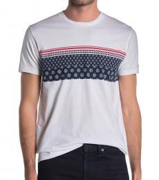 Ben Sherman White Floral Geo Stripe T-Shirt