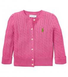 Ralph Lauren Baby Girls Baja Rose Cable-Knit Cardigan