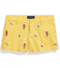 Ralph Lauren Little Girls Signal Yellow Pool Bear Chino Shorts