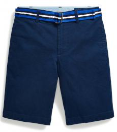 Ralph Lauren Boys Newport Navy Slim Fit Belted Chino Shorts
