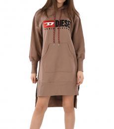 Diesel Beige Logo Hoodie Dress