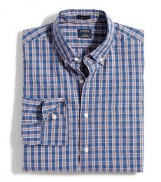 Blue Plaid Slim Flex Shirt