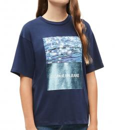 Girls Peacot Ocean Photo T-Shirt