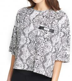 DKNY White Printed Crop T-Shirt