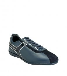 Versace Collection Blue Leather Sneakers