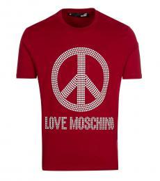 Maroon Studded Logo T-Shirt