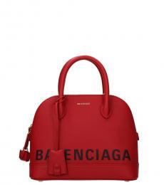 Balenciaga Red Logo Small Satchel