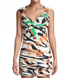 Roberto Cavalli Multi Abstract Ruched Bodycon Mini Dress